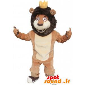 Hnědá a béžová lev maskot s korunou - MASFR032799 - lev Maskoti