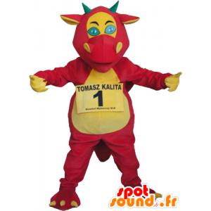Mascotte de dragon géant rouge, jaune et vert - MASFR032804 - Mascotte de dragon