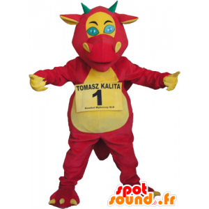 Olbrzym czerwony smok maskotka, żółty i zielony - MASFR032804 - smok Mascot