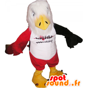Eagle mascot white, red and black with red shorts - MASFR032805 - Mascot of birds