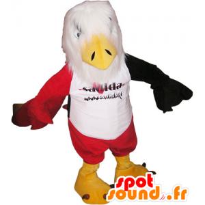 Mascot biały Eagle, czerwone i czarne z czerwonych spodenki - MASFR032805 - ptaki Mascot