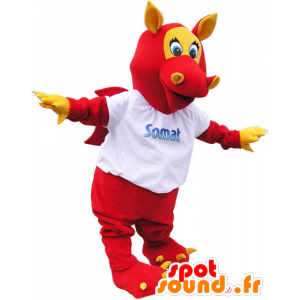 Punainen siivekäs lohikäärme maskotti korvat ja kynnet - MASFR032806 - Dragon Mascot