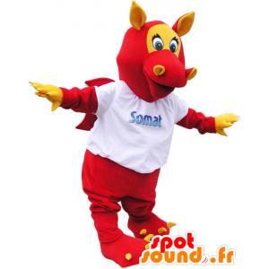 Röd bevingad drakemaskot med öron och klor - Spotsound maskot