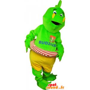 Mascotte de dinosaure vert flashy en short avec une bouée - MASFR032809 - Mascottes Dinosaure