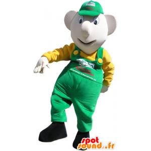 Snowman Mascot overalls and green cap - MASFR032811 - Human mascots