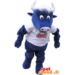 Mascotte de vache bleue avec un t-shirt blanc