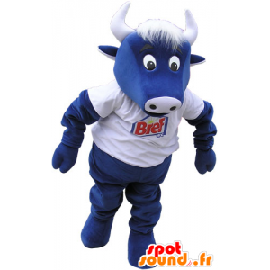 Mucca mascotte blu con una camicia bianca