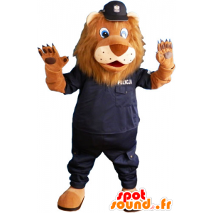 Brown lion mascot in police uniforms - MASFR032814 - Lion mascots