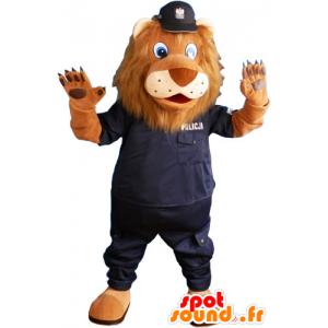 Hnědý lev maskot v policejních uniformách - MASFR032814 - lev Maskoti
