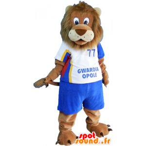Big brown lion mascot in sportswear - MASFR032816 - Sports mascot