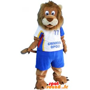 Mascotte grote bruine leeuw in sportkleding - MASFR032816 - sporten mascotte