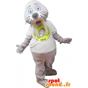 Mascotte de morse géant gris avec un t-shirt blanc