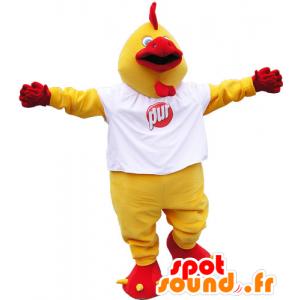 Μασκότ κίτρινο και κόκκινο γίγαντα πουλί με ένα λευκό πουκάμισο - MASFR032818 - Μασκότ Όρνιθες - κόκορες - Κοτόπουλα