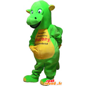 Flashy yellow and green dinosaur mascot - MASFR032825 - Mascots dinosaur