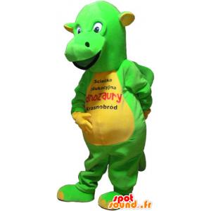 Mascotte de dinosaure vert flashy et jaune - MASFR032825 - Mascottes Dinosaure