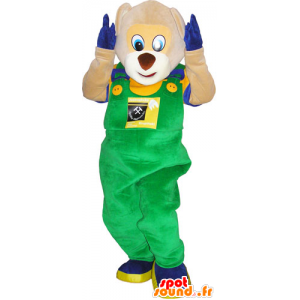 Pooh mascot overalls and holding colorful - MASFR032826 - Bear mascot