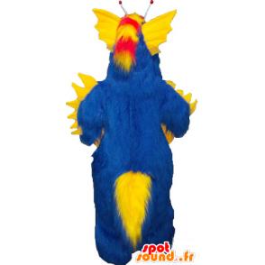 Mascotte de gros monstre bleu et jaune tout poilu - MASFR032827 - Mascottes de monstres