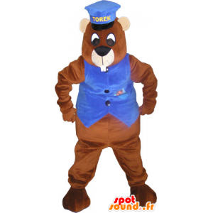 Giant brown beaver mascot with a cap and a waistcoat - MASFR032828 - Beaver mascots