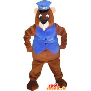 Giant mascotte marrone castoro con un cappello e un gilet - MASFR032828 - Castori mascotte