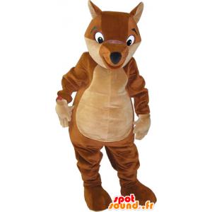 Brown fox mascot and giant beige - MASFR032829 - Mascots Fox