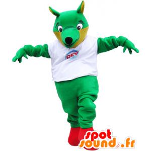 Mascotte de gros renard vert avec un t-shirt blanc - MASFR032830 - Mascottes Renard
