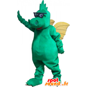 Green dragon mascot with yellow wings and glasses - MASFR032831 - Dragon mascot