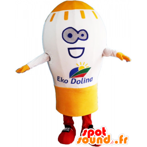 Mascot giant light bulb, white and yellow - MASFR032832 - Mascots bulb