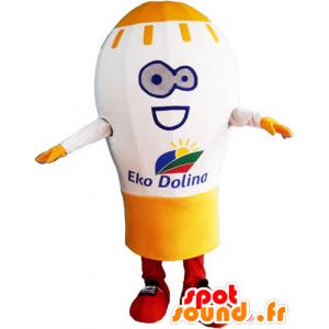 Mascotte d'ampoule géante, blanche et jaune