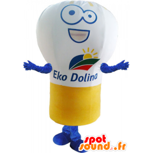 Mascot giant light bulb, white, yellow and blue - MASFR032837 - Mascots bulb