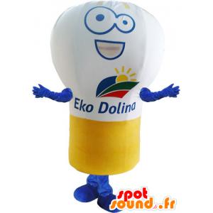 Mascotte d'ampoule géante, blanche, jaune et bleue