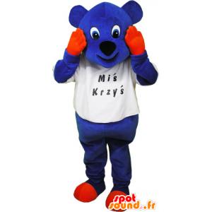 Blue bear mascot with orange hands and legs - MASFR032842 - Bear mascot