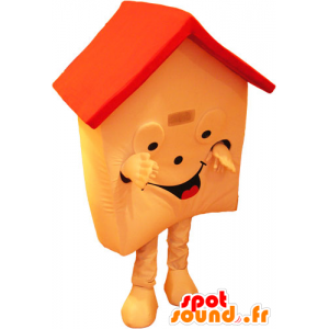 Mascot house orange and red, very smiling - MASFR032843 - Mascots of objects