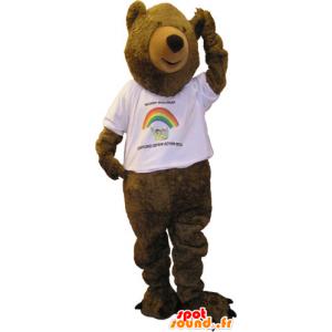 Mascot big brown bear with a white shirt - MASFR032845 - Bear mascot