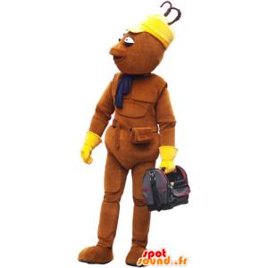 Mascot enden alle braunen Mann mit einer Tasche - MASFR032850 - Menschliche Maskottchen