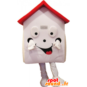 Witte Huis mascotte en rood, zeer glimlachen - MASFR032853 - mascottes objecten