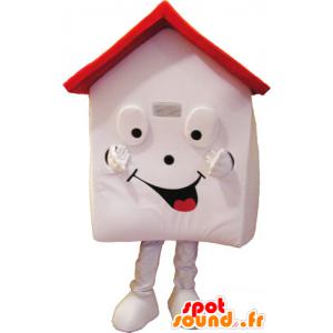 Valkoinen talo maskotti ja punainen, hyvin hymyilevä - MASFR032853 - Mascottes d'objets