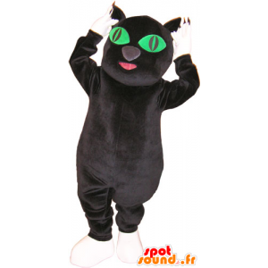 Wholesale mascot black and white cat with green eyes - MASFR032858 - Cat mascots