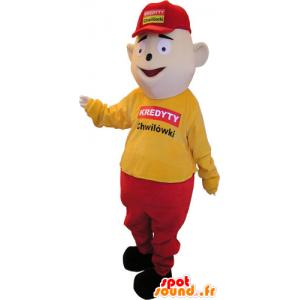 Schneemann-Maskottchen in gelb gekleidet und Rot mit einer Kappe - MASFR032860 - Menschliche Maskottchen