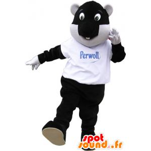 Large mascot beaver black and white with fun air - MASFR032864 - Beaver mascots