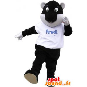 Grande mascotte di castoro bianco e nero con l'aria di divertimento - MASFR032864 - Castori mascotte