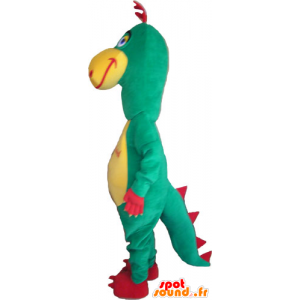 Dinosaur mascot, green, red and yellow funny - MASFR032865 - Mascots dinosaur