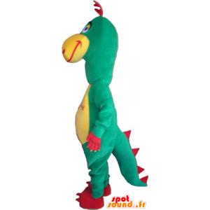 Mascotte de dinosaure, vert, rouge et jaune rigolo - MASFR032865 - Mascottes Dinosaure