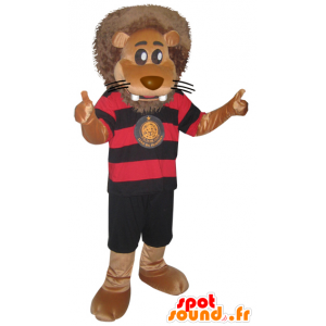 Large lion mascot in black sportswear and red - MASFR032866 - Sports mascot