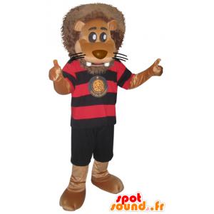 Grande mascote do leão equipamento preto dos esportes e vermelho - MASFR032866 - mascote esportes
