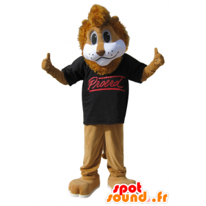 Brązowy lew maskotka z czarnej koszuli - MASFR032867 - Lion Maskotki