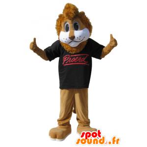 Brun lejonmaskot med svart t-shirt - Spotsound maskot