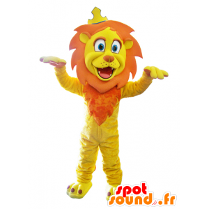Yellow lion mascot and orange with a crown - MASFR032868 - Lion mascots