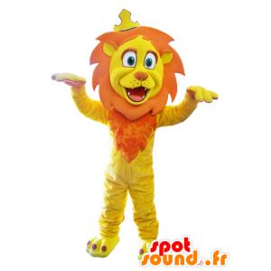 Keltainen leijona maskotti ja oranssi kruunu - MASFR032868 - Lion Maskotteja
