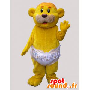 Yellow bear mascot carrying a layer - MASFR032869 - Bear mascot
