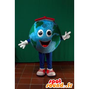 Mascotte de planète terre géante avec un chapeau rouge - MASFR032870 - Mascottes non-classées